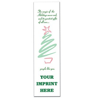 "BM40-HOL - 2"" Rectangle Holiday Tree Paper Bookmark"