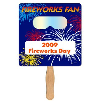 FSF-50 - Square Hand Fan with Fireworks Film