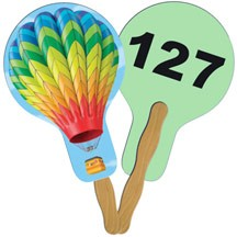 Balloon/Light Bulb Auction Hand Fan Full Color