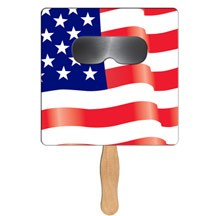 Square Flag Sun Shade Hand Fan